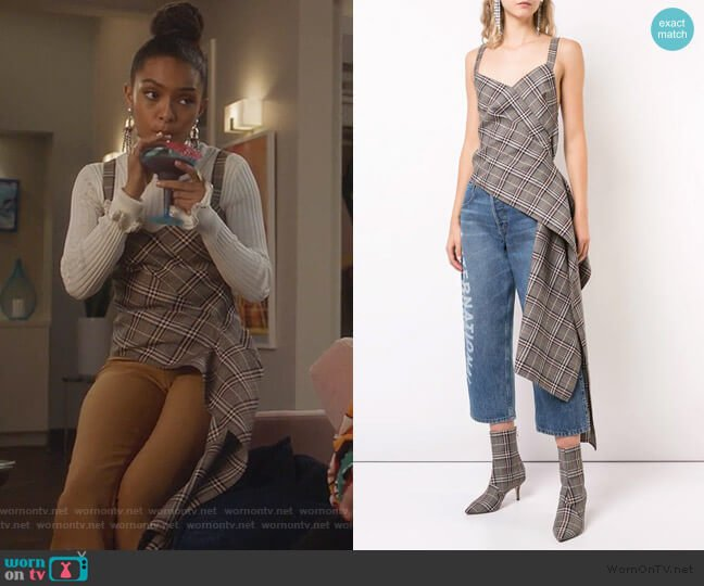 Plaid Asymmetric Top by Monse worn by Zoey Johnson (Yara Shahidi) on Grown-ish