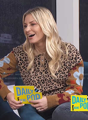 Morgan's leopard and floral print sweater on E! News Daily Pop
