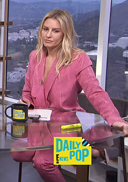 Morgan's pink marble suit on E! News Daily Pop
