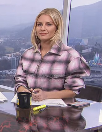 Morgan's pink plaid zip-front jacket on E! News Daily Pop