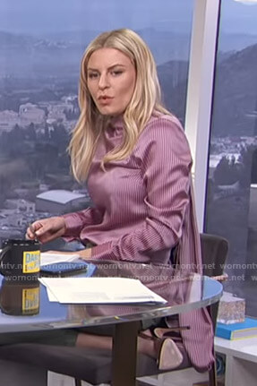 Morgan's pink striped blouse on E! News Daily Pop