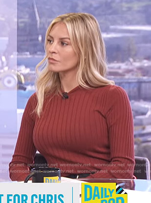 Morgan's red ribbed sweater on E! News Daily Pop
