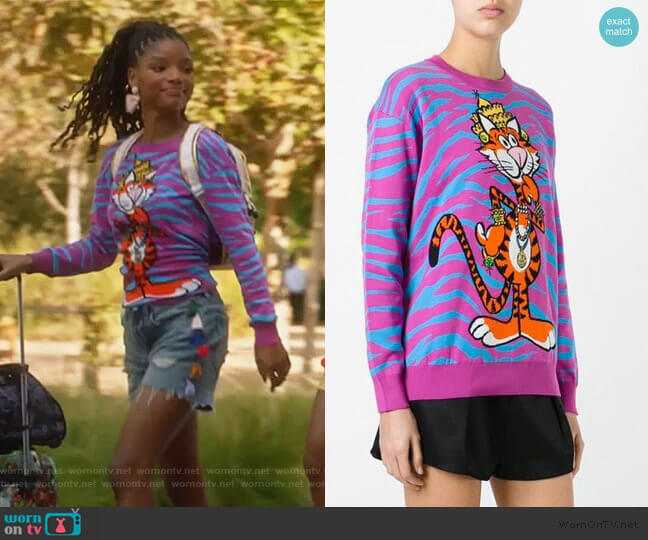 Crowned Tiger Intarsia Jumper by Moschino worn by Skylar Forster (Halle Bailey) on Grown-ish