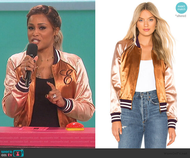 The Letterman Zip Jacket by Mother worn by Eve  on The Talk