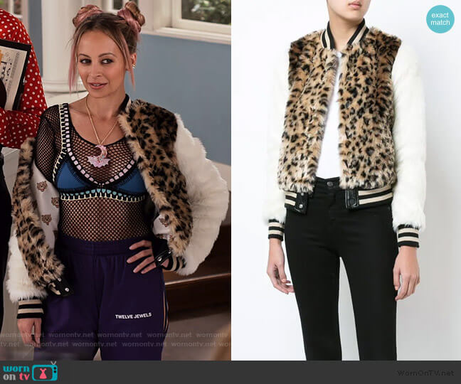 leopard print faux fur bomber jacket by Mother worn by Nicole Richie on Grace and Frankie
