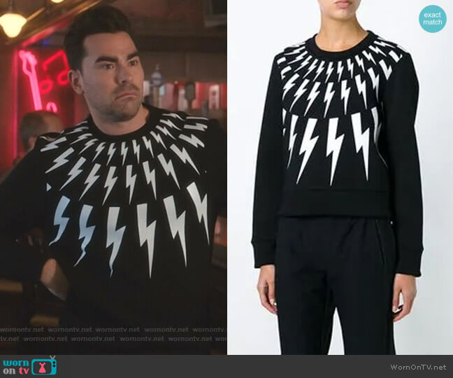 Lightning Bolt Sweatshirt by Neil Barrett worn by David Rose (Daniel Levy) on Schitts Creek