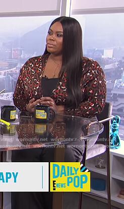 Nina's leopard jumpsuit on E! News Daily Pop