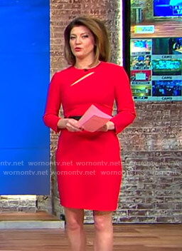 Norah's red cutout belted dress on CBS This Morning