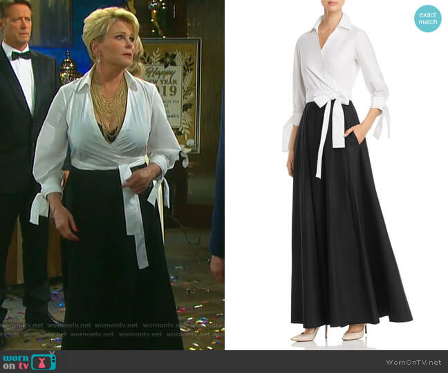 Two-Tone Maxi Wrap Dress by Paule Ka worn by Judi Evans on Days of our Lives