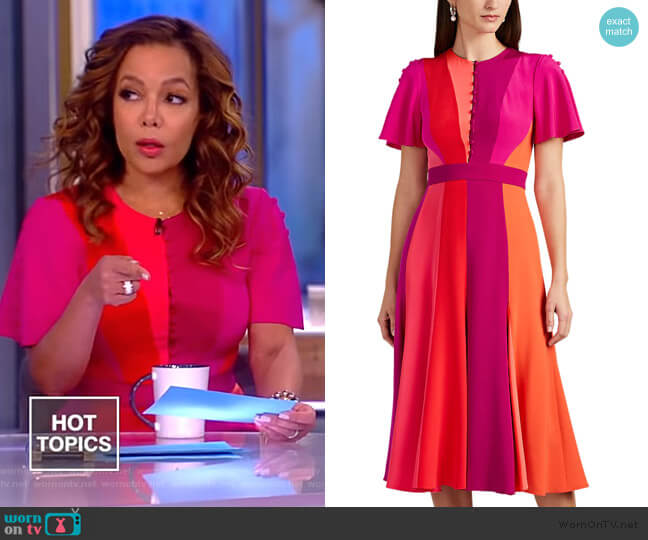 Colorblocked Silk Midi-Dress by Prabal Gurung worn by Sunny Hostin  on The View