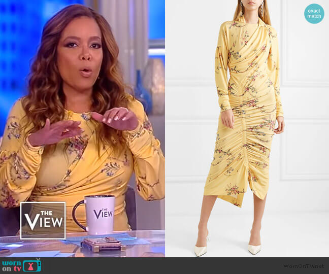 Louise ruched floral-print stretch-crepe dress by Preen by Thornton Bregazzi worn by Sunny Hostin  on The View