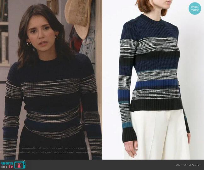Striped Rib Crewneck Sweater by Proenza Schouler worn by Clem (Nina Dobrev) on Fam