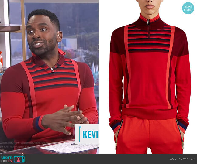 Colorblocked & Striped Merino Wool Quarter-Zip Sweater by PS by Paul Smith worn by Justin Sylvester on E! News