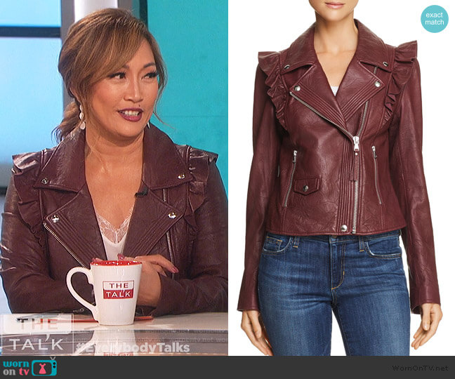 Annika Leather Jacket by Paige worn by Carrie Inaba  on The Talk