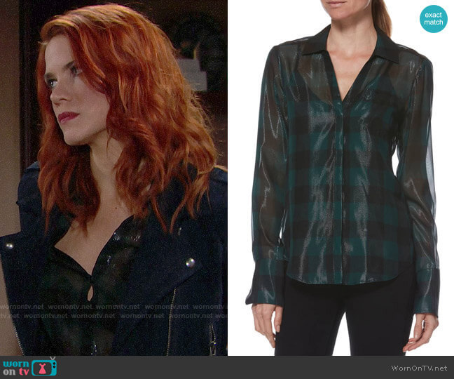 Paige Bevyn Plaid Top worn by Sally Spectra (Courtney Hope) on The Bold & the Beautiful