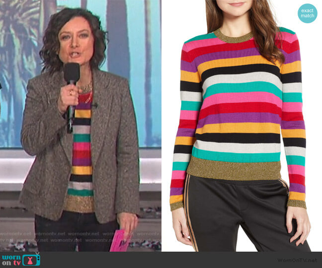 Metallic-Trim Rainbow-Stripe Sweater by Pam & Gela worn by Sara Gilbert (Sara Gilbert) on The Talk