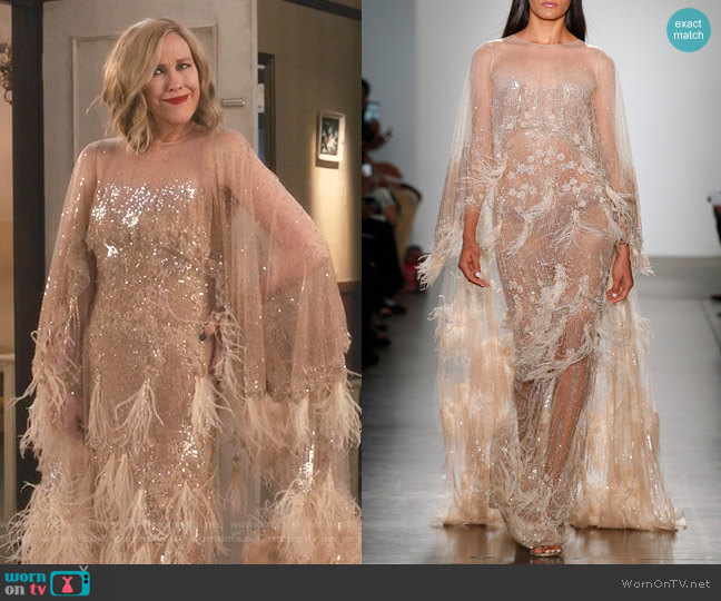 Double Cape Tulle Gown With Sequin And Ostrich Feather Plumes by Pamella Roland worn by Moira Rose (Catherine O'Hara) on Schitts Creek