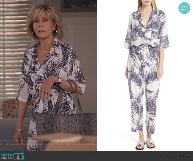 Apres Beach Print Jumpsuit by Paradised worn by Grace (Jane Fonda) on Grace & Frankie