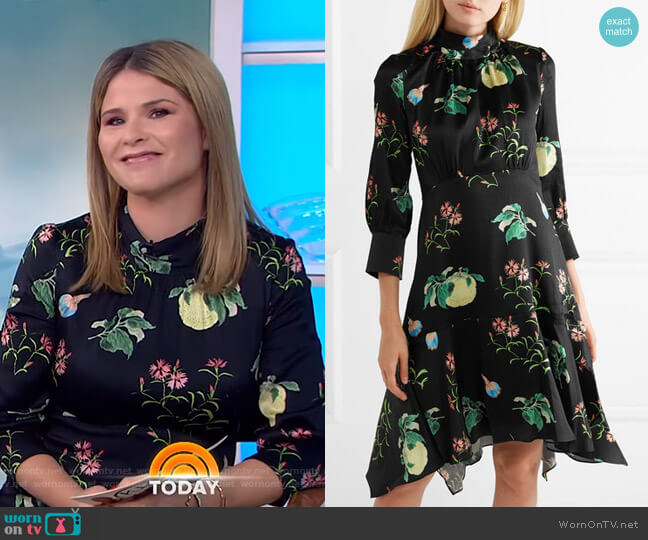 Floral-Print Hammered-Silk Dress by Peter Pilotto worn by Jenna Bush Hager  on Today