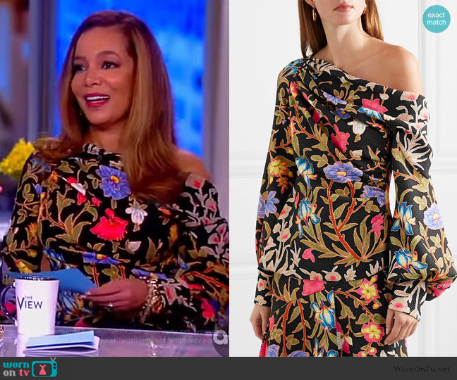 Floral and foliage-print asymmetric crepe blouse by Peter Piloto worn by Sunny Hostin  on The View