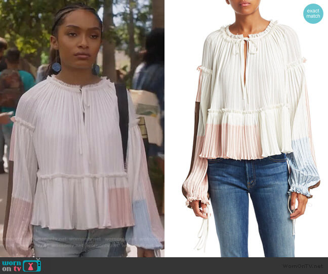 Pleated Peplum Crop Blouse by 3.1 Phillip Lim worn by Zoey Johnson (Yara Shahidi) on Grown-ish