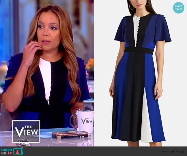 Colorblocked Silk Dress by Prabal Gurung worn by Sunny Hostin (Sunny Hostin) on The View