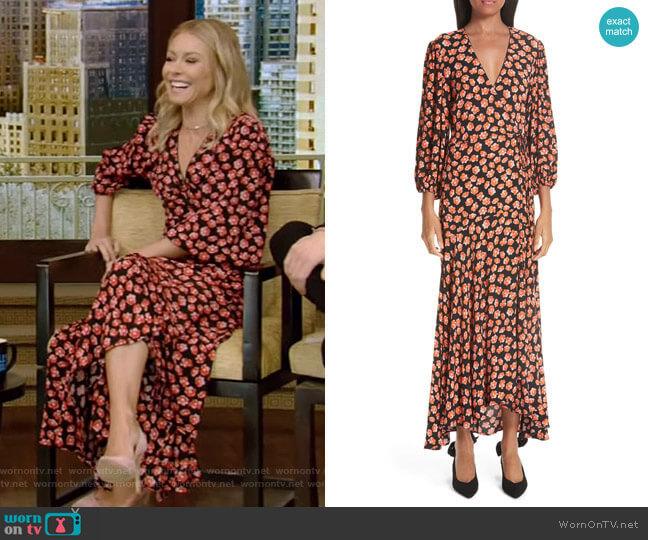 Print Crepe Dress by Ganni worn by Kelly Ripa (Kelly Ripa) on Live with Kelly & Ryan