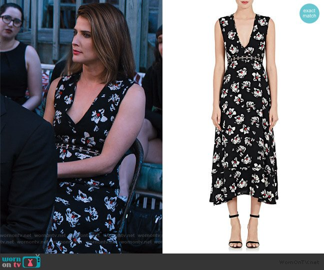 Cutout-Waist Floral Sleeveless Dress by Proenza Schouler worn by Lisa Turner (Cobie Smulders) on Friends from College