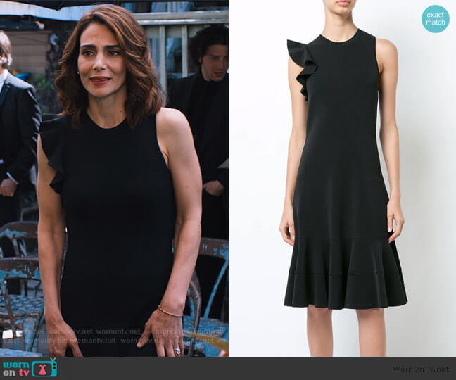 Sleeveless One Shoulder Ruffle Dress by Proenza Schouler worn by Samantha Delmonico (Annie Parisse) on Friends from College