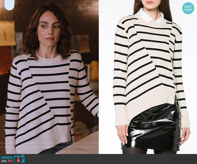 Stripe Asymmetric Jumper by Proenza Schouler worn by Samantha Delmonico (Annie Parisse) on Friends from College
