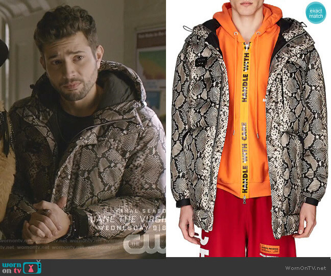 Python-Print Puffer Coat by Heron Preston worn by Sam Flores (Rafael de la Fuente) on Dynasty