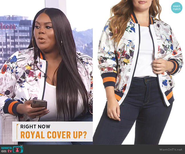 Floral Bomber Jacket by RACHEL Rachel Roy worn by Nina Parker  on E! News