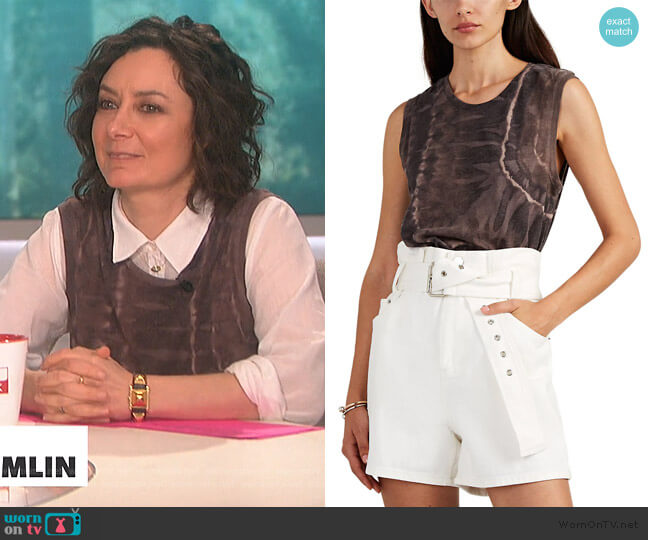 Tie-Dyed Cotton-Blend Muscle Tank by Raquel Allegra worn by Sara Gilbert  on The Talk