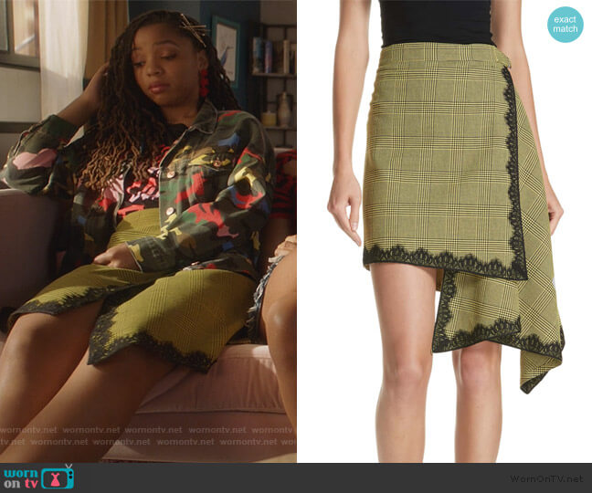 Lace Trim Plaid Skirt by Robert Rodriguez worn by Jazlyn Forster (Chloe Bailey) on Grown-ish