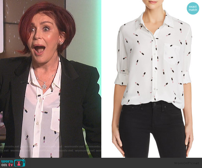 Kate Lipstick Print Silk Shirt by Rails worn by Sharon Osbourne (Sharon Osbourne) on The Talk