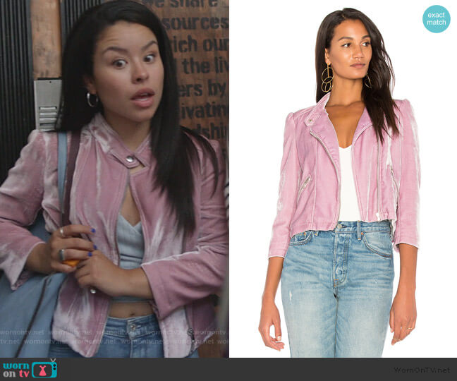 Velvet Moto Jacket by Rebecca Taylor worn by Mariana Foster (Cierra Ramirez) on Good Trouble