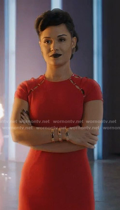 Reeva's red cutout dress on The Gifted