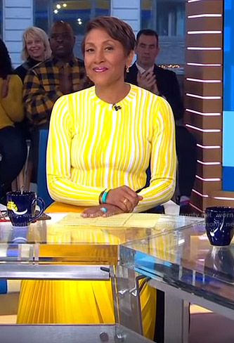 Robin's yellow striped sweater and pleated skirt on Good Morning America