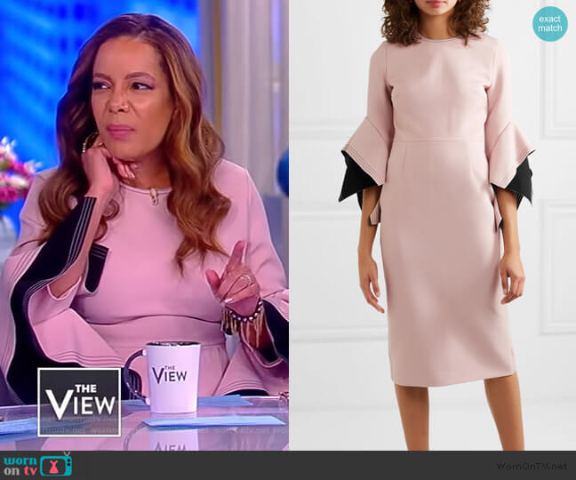 Ruffled two-tone cady midi dress by Roksanda worn by Sunny Hostin on The View