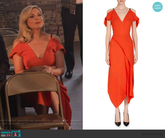 Cotness Asymmetric-Drape V-Neck Dress by Roland Mouret worn by Brianna (June Raphael) on Grace & Frankie