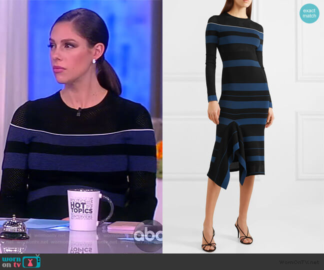 Olivier perforated striped stretch-knit dress by Roland Mouret worn by Abby Huntsman  on The View