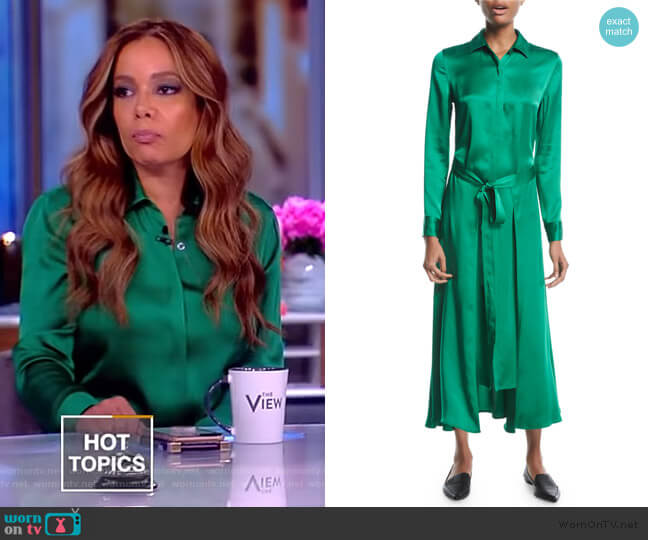 Long Apron-Wrap Crepe Back Satin Shirtdress worn by Sunny Hostin  on The View