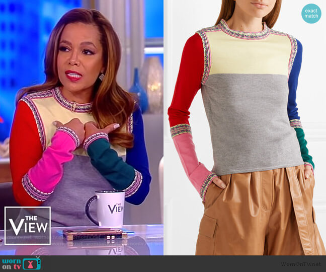 Color-block wool sweater by Rosie Assoulin worn by Sunny Hostin  on The View