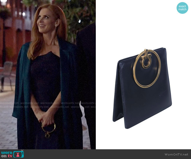 Salvatore Ferragamo Small Gancio Clutch With Gold Ring Handle worn by Donna Paulsen (Sarah Rafferty) on Suits