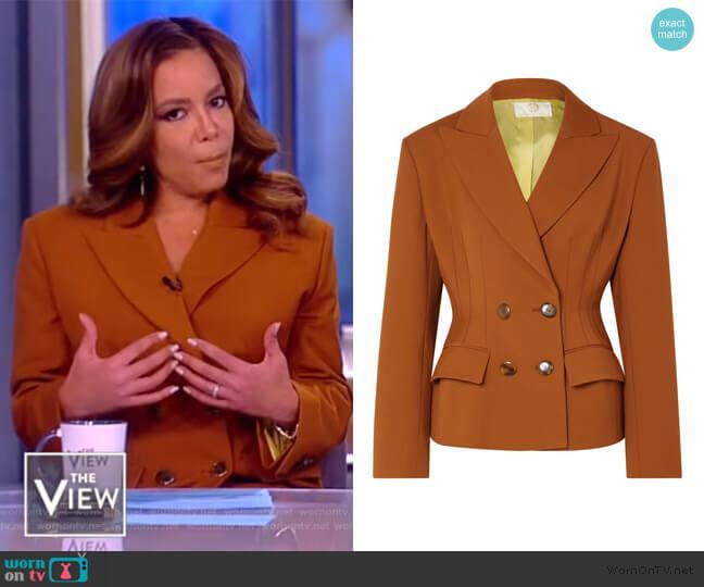 Blazer: Double-breasted crepe blazer by Sara Battaglia worn by Sunny Hostin (Sunny Hostin) on The View