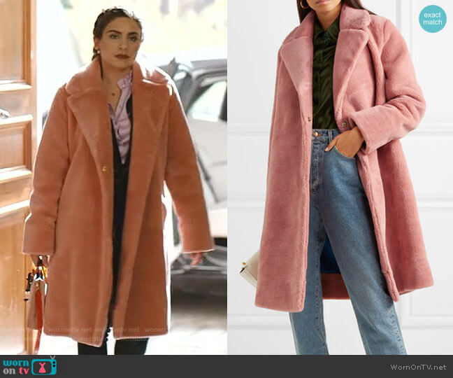 Concord Faux Fur Coat by Stine Goya worn by Cristal Jennings (Ana Brenda Contreras) on Dynasty