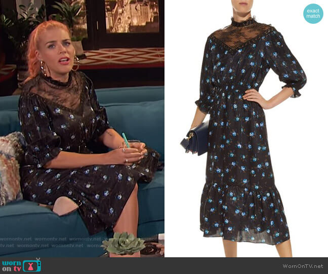 Lace Panel Floral Midi Dress by Sandro worn by Busy Philipps  on Busy Tonight