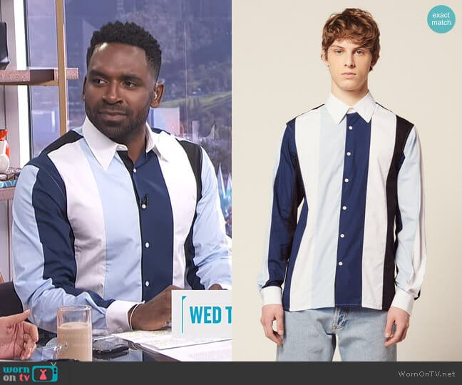 Shirt with Multicolored Stripes by Sandro worn by Justin Sylvester  on E! News