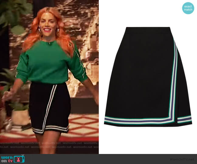 Stripe Knitted Mini Skirt by Sandro worn by Busy Philipps  on Busy Tonight