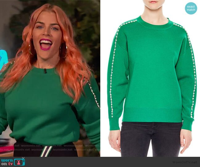 Wool-Blend Embellished Crewneck Sweater by Sandro worn by Busy Philipps  on Busy Tonight